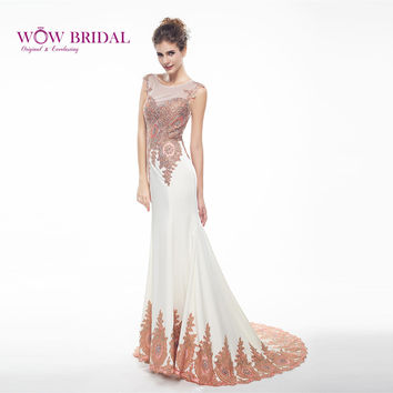 Wowbridal Elegant Long Evening Dress O-Neck Cap Sleeve Pattern Embroidered Beading Sheer Back Ruched Mermaid Formal Dress