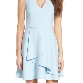 Adelyn Rae | Asymmetrical Crepe Fit & Flare Dress | Nordstrom Rack