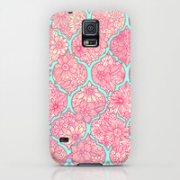 Moroccan Floral Lattice Arrangement in Pinks Galaxy S5 Case by Micklyn