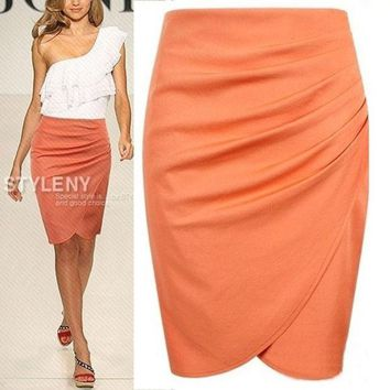 DCCKIX3 2014 New Fashion Womens' Business Suit Pencil Skirt Summer OL Skirts For Women Knee Length Step skirt = 1945828484