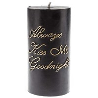 "3"" x 6"" Black & Gold Kiss Goodnight Pillar Candle 