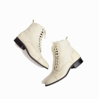 Vintage Lace Up Leather Boots in Ivory Cream - women's 7