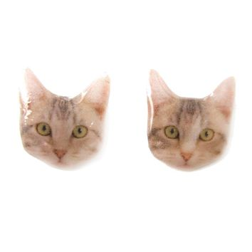 Realistic Tabby Kitty Cat Face Shaped Animal Resin Stud Earrings | Made To Order | Handmade