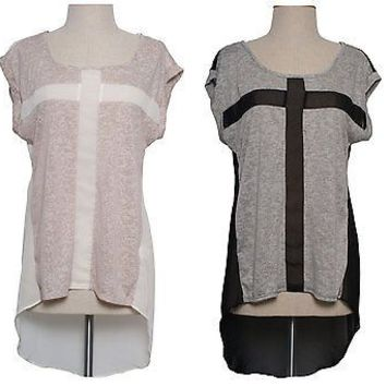 Women Burnout Cross Cut Chiffon Tunic Sheer Top Blouse Asym Hi Low Hem T-Shirt