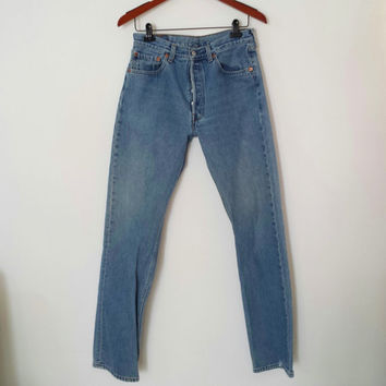 Vintage High Waisted Jeans - LEVI'S 501 Jeans Boyfriend Jeans - Button Fly - Size 33 X 34 or US 6/8