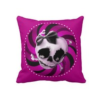 Girly Pink Skull with Black Bow Throw Pillows from Zazzle.com