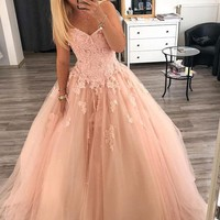 Pink Sweetheart Neck Lace long Prom dress Pink Evening Dress Tulle Formal Gowns F2980