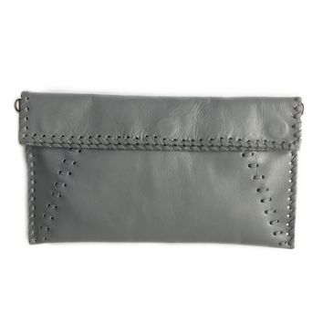 Abara Grey Leather Foldover Clutch Crossbody