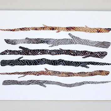 Stick Collection Archival Print - Watercolor Art - Twigs, Branch, Nature, Wood - Large Archival Print - 11x14 Stick Collection