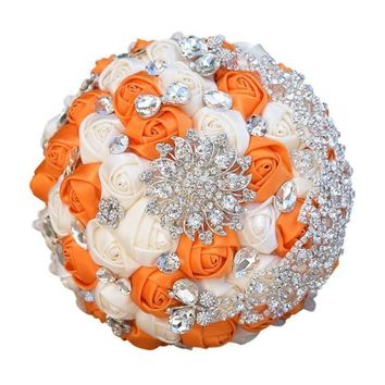 6 Color Choices Bridal Wedding Bouquet Bridal Flower Bouquet Handmade Crystal Bouquet
