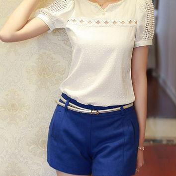 White Puff Sleeve Beads Accent Blouse