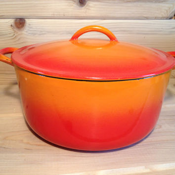 Descoware Belgium 5 Qt Dutch Oven Orange Flame Grey Glissemaille Interior 2-E 10 FE with Lid - Le Creuset Cast Iron Enamelware
