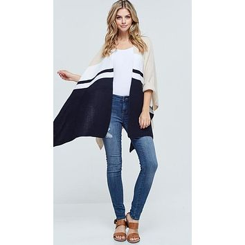Coco Chic Open Front Draped Knit Poncho