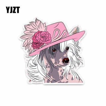 YJZT 12.7*12.7CM Hipster Chinese Crested Dog  Car Decoration Bumper Window Sticker C1-4264