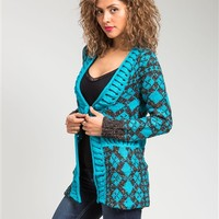Aqua Teal Blue Marled Gray Button Cable Wool Blend Cardigan Fair Isle Sweater