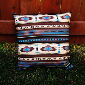 handmade red bandana denim blue pillow with pillow insert. 16 x 16