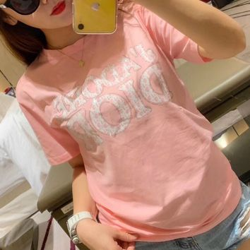 """""""Dior"""" Fashion Casual Letter Print Clover Cotton Short Sleeve Loose T-shirt Sportswear Tops"""