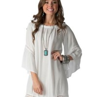 Flying Tomato Women's White Off The Shoulder 3/4Bell Sleeve Dress