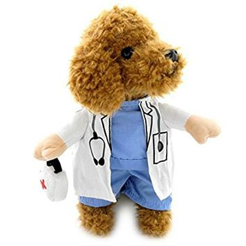 Puppy Pet Dog Cat Doctor Suit Costume Fancy Dress Small Dog Coat Medicine Box Decorated All Seasons