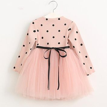 Girls Dress 2018 Casual Children Clothing Ball Gown Dot Print Kids Clothes Girls Dresses Princess Dress