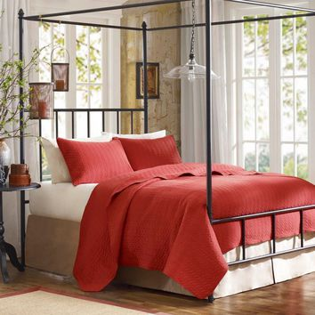 Woolrich Velvet Touch Coverlet - Brick/Paprika