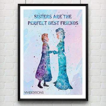 Elsa and Anna Disney Frozen Watercolor Print, Princess Room Watercolor Poster, Minimalist Home Decor Not Framed, Buy 2 Get 1 Free! [No. 130]