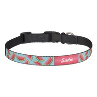 Watermelon Pattern On Blue And Custom Dog's Name Pet Collar