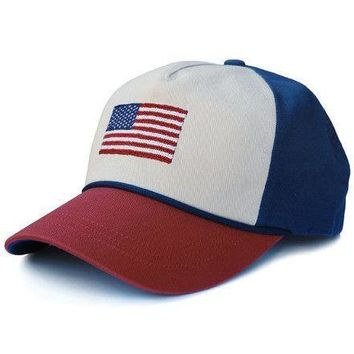 American Flag Needlepoint Rope  Hat in Stone, Rust and Navy by Smathers & Branson