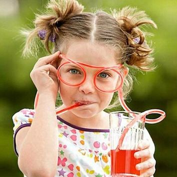 Funny Soft Glasses Straw Unique Flexible Drinking Tube Kids Party Accessories Colorful Pink Blue Plastic Drinking Straws