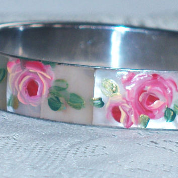 Shabby Chic Floral Bangle Hand Paint Pink Rose Flower Mother of Pearl Bracelet
