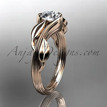 14kt rose gold leaf and vine wedding ring, engagement ring ADLR273
