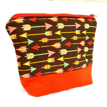 Earth Tone Arrows Makeup Accessory Bag - Arrow Orange Brown Make Up Accessories Bag Pouch Clutch