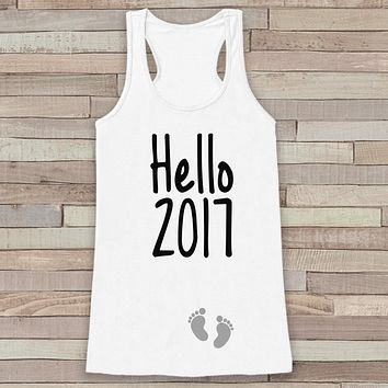Hello 2017 Tank Top - Baby Feet Shirt - Womens Tank Top - Happy New Years Tank -  White Tank - Pregnancy Announcement - Baby Reveal Idea