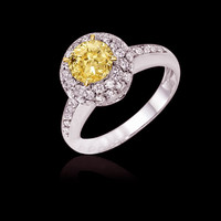 3 carat certified yellow diamonds anniversary ring gold