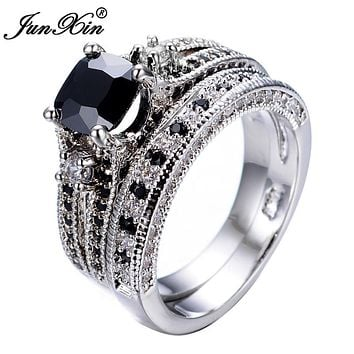 JUNXIN Men's Gorgeous Black Crystal Ring Set Promise Engagement Rings For Women Fashion 10KT White Gold Filled Jewelry RW1222