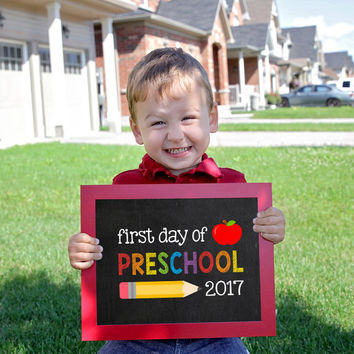 Preschool Sign, First day of school sign printable, Pre-School Printable Sign, First day of Preschool, back 2 school sign, Preschool