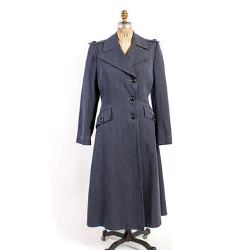 Vintage 40s COAT / 1940s WWII Women's Red Cross Wool Gabardine Princess Style Trench Coat M