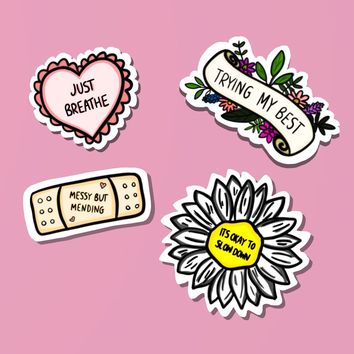 Positive Affirmation Self-Care Sticker Set (4 Stickers)