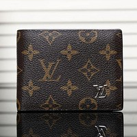 Louis Vuitton men's leather trend wallet F Brown printing