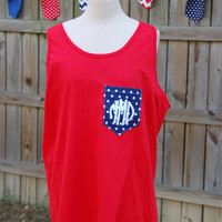 Monogrammed Patriotic Pocket Tank Top by MaxwellMonogramming