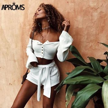 Aproms White Off Shoulder Knitted Tank Tops Womens Crop Top Buttons Elastic Slim Basic Camis Streetwear Flare Sleeve Tees