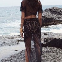 For Love & Lemons Luau Maxi Skirt in Black