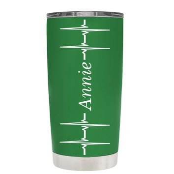 Personalized Heart Beat Pulse on Kelly Green 20 oz Tumbler Cup