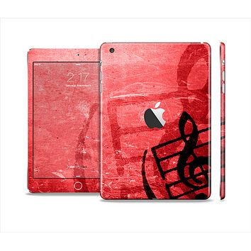 The Scratched Red Surface with Black Music Note Skin Set for the Apple iPad Mini 4
