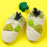 Baby Booties, Socks & Hats: Baby Green Leather Slip-on Turtle Booties