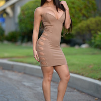 Strapped to Perfection Dress - Camel