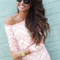 Cozy Aztec Sweater - Peach