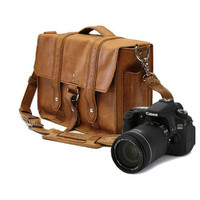 "15"" Camera Bag - Serengeti - Manhattan Style -Full Grain Leather - Padded Camera Insert - Made in the U.S.A."