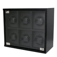Tech Swiss Watch Winder For 6 Wood Black Carbon Fiber Design for Automatic Watches