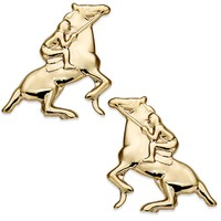 10k Gold Earrings, Jockey on Horse Stud Earrings